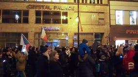 Protesten in Praag stock footage