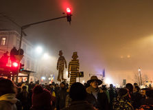 Protesten in Roemenië Stock Fotografie