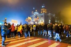 Protesten in Roemenië Stock Foto's