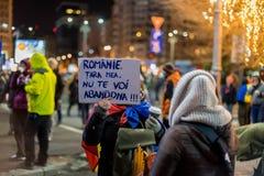 Protesten in Roemenië in December 2017 Stock Foto