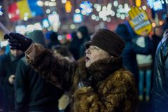 Protesten in Roemenië in December 2017 Stock Afbeelding