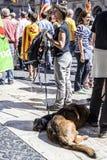 Protesten samlar frihet och självständighet Spanien Catalonia Barcelona Arkivfoton
