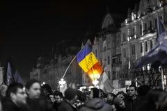 Protesten tegen nieuwe wetten van rechtvaardigheid in Timisoara, Roemenië in Januari 2018 royalty-vrije stock fotografie