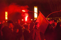 Protesten tijdens Poolse onafhankelijkheidsdag in Warshau royalty-vrije stock afbeelding