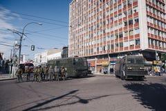 Protesten in Valparaiso Royalty-vrije Stock Foto's