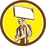 Protester Activist Union Worker Placard Sign Woodcut. Illustration of a protester activist unionist union worker striking holding up a placard sign set inside Royalty Free Stock Photography