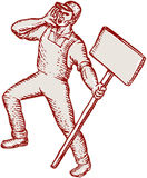 Protester Activist Union Worker Shouting Placard Etching. Etching engraving handmade style illustration of a protester activist unionist union worker shouting Stock Image