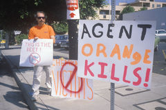 Protester against agent orange chemicals Royalty Free Stock Photography