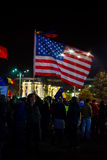 Protester with american flag in Bucharest, Romania Royalty Free Stock Photography