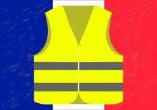 Protester av gult tilldelar Frankrike Passande för nyheterna på Gilets Jaunes Vektor av händelserna som äger rum i Frankrike stock illustrationer