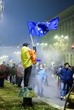 Protester with European Union flag, Bucharest, Romania Stock Photos