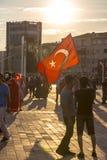 Protester för Juli 15 direktstötförsök i Istanbul Royaltyfri Bild