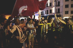 Protester för Juli 15 direktstötförsök i Istanbul Royaltyfri Fotografi