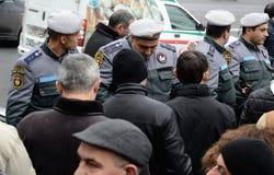 Protester i Armenien: den demokratiska övergången av driver utan blod Royaltyfri Fotografi