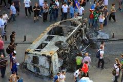 Protester i den Turkiet Taksim fyrkanten Arkivfoto