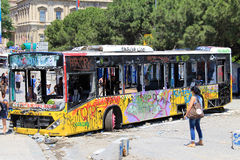 Protester i den Turkiet Taksim fyrkanten Arkivbilder