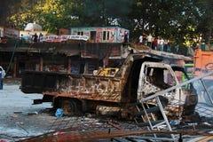 Protester i den Turkiet Taksim fyrkanten Arkivbild