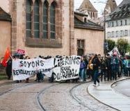 Protester i Frankrike mot Macron reformer Arkivbild