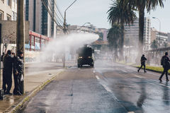 Protester i Valparaiso Arkivbilder