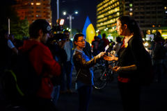 Protester interview, Bucharest, Romania Stock Image