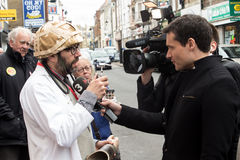 Protester interviewed at Anti UKIP protest in Thanet South. Protester dressed as doctor interviewed by Catalan TV at Anti UKIP protest in Ramsgate, Thanet South Royalty Free Stock Photos