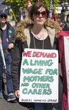 Protester for a Living Wage at May Day Rally Royalty Free Stock Image