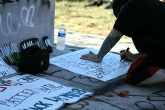 A protester making sign at the Black lives matter rally in Richmond Virginia