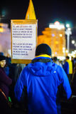 Protester with message in Bucharest, Romania Royalty Free Stock Images