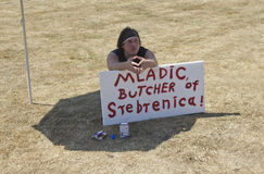 Protester at the Mladic trial Stock Image