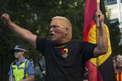 Protester shouting. Perth, Australia. 01.05.2015. Man shouts during a protest against the forced closure of remote aboriginal comunities Royalty Free Stock Image