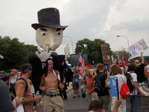 Protester with Wearable Puppet at DNC Convention royalty free stock image
