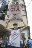 Protester wearing skeleton mask protesting CIA, Los Angeles, California Royalty Free Stock Images