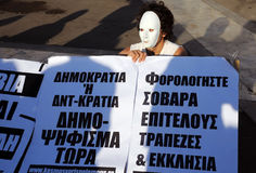 Protester in White Mask Royalty Free Stock Photo