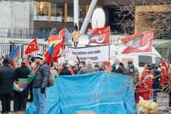 Protestera för armenier- och Turkiet diaspora Arkivbild