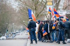 Protestera för armenier- och Turkiet diaspora Arkivbilder