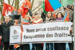 Protestera för armenier- och Turkiet diaspora Arkivfoton