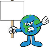 protestera för maskot för tecknad filmteckenjord Royaltyfria Foton