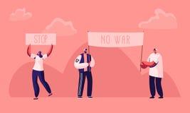 Protestera folk med plakat och skylt på slag eller demonstration, manliga kvinnliga aktivisttecken med baner och tecken vektor illustrationer