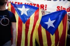 Protestera i Madrid i service till den Catalonia folkomröstningen 20 - 09 - 2017 royaltyfria foton