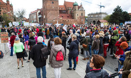 Protestera mot anti--abort lag i Polen, Gdansk, 2016 04 24, Royaltyfria Bilder