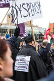 Protestera mot anti--abort lag i Polen, Gdansk Arkivbilder