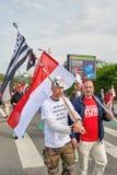 Protestera mot fusion av den Alsace regionen med Lorraine och Champa Arkivbild