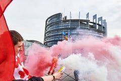 Protestera mot fusion av den Alsace regionen med Lorraine och Champa Royaltyfria Bilder