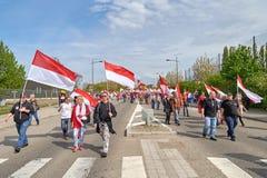 Protestera mot fusion av den Alsace regionen med Lorraine och Champa Fotografering för Bildbyråer