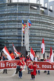 Protestera mot fusion av den Alsace regionen med Lorraine och Champa Royaltyfri Foto