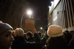 Protestera reseförbud för muselman för trumf` s Arkivbild
