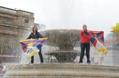 protestera tibetana kvinnor Royaltyfri Fotografi