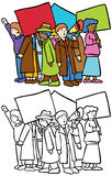 Protesters. Cartoon image of a group of protesters - both color and black / white versions Stock Images