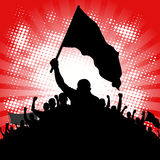 Protesters. Abstract background with silhouette of protesters with banners Stock Photos