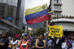 Protesters against Nicolas Maduro dictatorship march in support of Guaido. Caracas Venezuela January 30, 2019: Protesters march and filled streets across stock images
